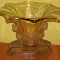 FRUCTIERĂ / BOMBONIERĂ MARE ȘI VECHE CU 2 FEMEI, ANII 1900, STICLĂ MASIVĂ, 2 KG! - Arta din Sticla