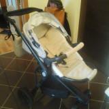 Carut KINDERCRAFT - Carucior copii 2 in 1 Kinderkraft, 6-12 luni, Pliabil, Crem, Maner reversibil