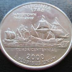 (79) SUA USA QUARTER DOLLAR 2000 VIRGINIA MONETARIA PHILADELPHIA LITERA