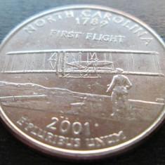 (84) SUA USA QUARTER DOLLAR 2001 NORTH CAROLINA MONETARIA PHILADELPHIA LITERA