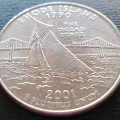 (87) SUA USA QUARTER DOLLAR 2001 RHODE ISLAND MONETARIA PHILADELPHIA LITERA