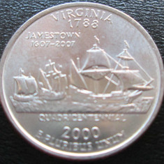 (76) SUA USA QUARTER DOLLAR 2000 VIRGINIA MONETARIA PHILADELPHIA LITERA