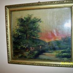 Tablou vechi ulei pe panza peisaj de apus de soare