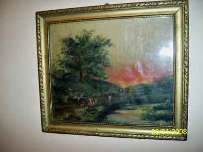 Tablou vechi ulei pe panza peisaj de apus de soare foto