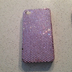 Husa / capac spate iPhone 4 Swarovski / Swarowski. Roz - Husa Telefon Apple, iPhone 4/4S