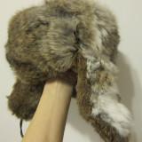 Caciula blana iepure, unisex, naturala, marimea S/M, stare buna - MODEL RUSESC CU URECHI!!! - Caciula Dama