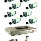 Sistem supraveghere 8 camere 700 tvl tip box cu DVR 8 canale LAN - Camera CCTV