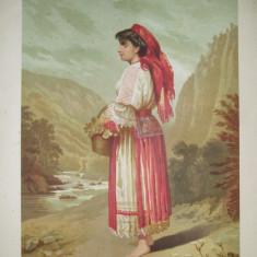 Litografie Color Carol Pop de Szathmary Verciorova tiparita in atelierul artistului 1882 Bucuresti