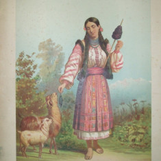 Litografie Color Carol Pop de Szathmary Piatra tiparita in atelierul artistului 1882 Bucuresti