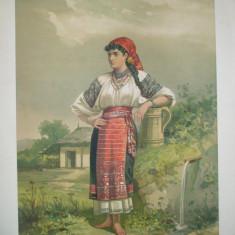 Litografie Color Carol Pop de Szathmary Ialomita tiparita in atelierul artistului 1882 Bucuresti