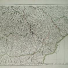 Harta color Moldova Valahia Transilvania cu parti din Bulgaria Ungaria si Polonia P. Santini Venetia 1777
