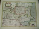 Harta color Valahia Serbia Bulgaria Romania Jodocus Hondius Amsterdam 1630 dupa o harta G. Mercator