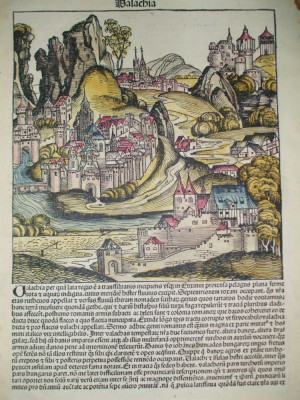 Gravura color  Valahia Walachia Hartmann Schedel Nurnberg 1493 foto