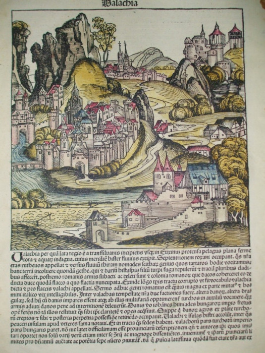 Gravura color  Valahia Walachia Hartmann Schedel Nurnberg 1493 foto mare