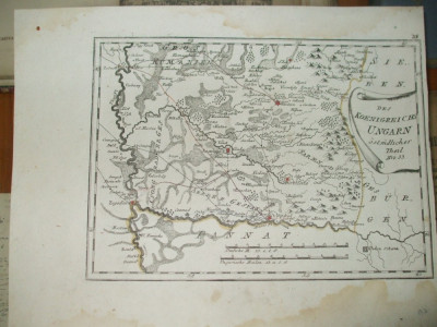Harta color F. J. J. von Reilly Regatul Ungariei partea estica Banat 1789 007 foto