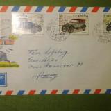 4 timbre serie Masini circulate 1977 spre Germania pe plic cu stampila Malaga