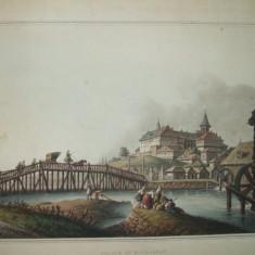 Gravura color Palat la Bucuresti  Luigi Mayer London 1809