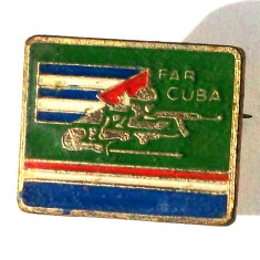 CUBA INSIGNA MILITARA FAR (FORTELE ARMATE REVOLUTIONARE), 24 x 19 mm **, America Centrala si de Sud