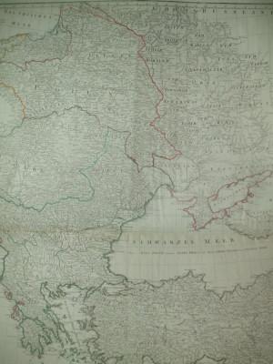 Harta Rusia Marea Neagra Moldova Valahia Baltica F. A. Schrambl Viena 1788 foto