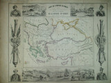Harta Impeirului Otoman si a razboiului din Orient cu Marea Neagra sultanul Abdul - Meju imparatul Nicolae Omer Pacha Paris F. Gosselin