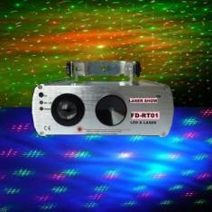 LASER PROFESIONAL 2in1, LASER DE PUTERE ROSU+VERDE CU LED DE 5 WATT INCORPORAT PENTRU PERDEA COLORATA. MEGA LASER DISCO. - Laser lumini club