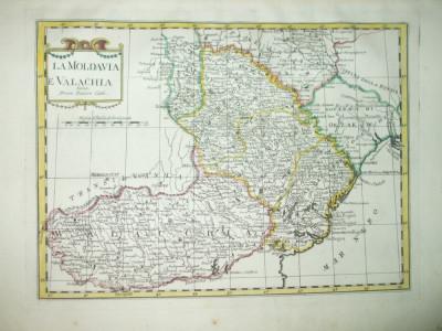 Harta color  Valahia si Moldova  Carlo Pazzini Siena 1790 006 foto
