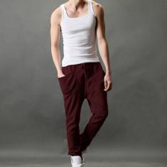 Pantaloni model gen Zara, sport trening barbati noi, rosu inchis =wine red vezi marimi in descriere - Pantaloni barbati