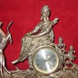 Ceas de semineu din alpaca argintata - marmura FRANTA   INTERBELICA - cca. 1920