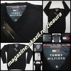 PULOVER NEGRU BARBATI GEN firma TOMMY HILFIGER EXCLUSIVE ANCHIOR NEW EDITION - Pulover barbati Tommy Hilfiger, Marime: M, XXL, Lana