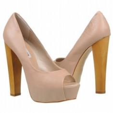 Pantofi STEVE MADDEN dama, cu platforma si varf decupat, nude - Pantof dama Steve Madden, Marime: 39.5, Cu toc