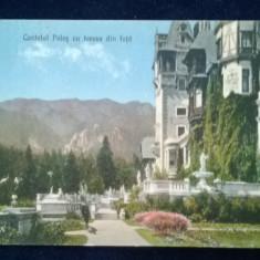 Sinaia - Castel Peles cu terasa din fata - circulata