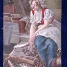 Vedere pictura in relief-Marke Schlangenkonigin - Erpaco, Nevasta de pescar, Circulata