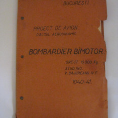 RARITATE! PROIECT DE AVION(CALCUL AERODINAMIC) PENTRU BOMBARDIER BIMOTOR DIN 1940-1941