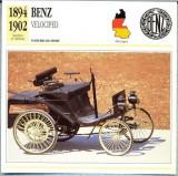 61 Foto Automobilism - BENZ VELOCIPED - GERMANIA -1894-1902 -pe verso date tehnice in franceza -dim.138X138 mm -starea ce se vede