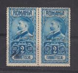 No(2)timbre-Romania  - Timbru fiscal- Ferdinand-2 LEI -pereche