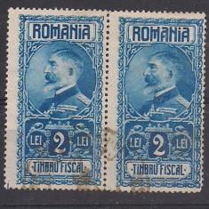 No(9)timbre-Romania  - Timbru fiscal- Ferdinand-2 LEI -pereche