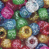100 buc Margele plastic (acrilice) Pony Beads cu sclipici, 9 x 6 mm