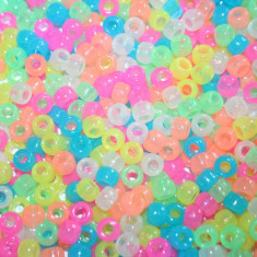 100 buc Margele plastic (acrilice) Pony Beads Glow Multicolor, 9 x 6 mm