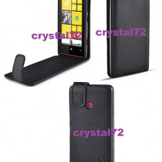 Livrare gratuita! Husa toc flip pentru Nokia Lumia 520 neagra, inchidere magnetica + laveta microfibra + stylus - Husa Telefon Nokia, Negru