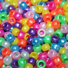 100 buc Margele plastic (acrilice) Pony Beads Perlate Mix, 9 x 6 mm