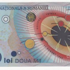 ROMANIA, 2000 LEI 1999, polimer, UNC; eclipsa totala de soare - Bancnota romaneasca