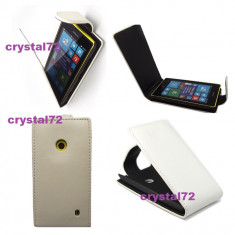 Livrare gratuita!!! Husa toc flip alba pentru Nokia Lumia 520 + laveta microfibra + stylus pen, inchidere magnetica, calitate - Husa Telefon