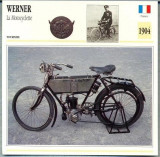 331 Foto Motociclism - WERNER LA MOTOCYCLETTE - FRANTA -1904 -pe verso date tehnice in franceza -dim.138X138 mm -starea ce se vede