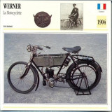331 Foto Motociclism - WERNER LA MOTOCYCLETTE - FRANTA -1904 -pe verso date tehnice in franceza -dim.138X138 mm -starea ce se vede - Fotografie