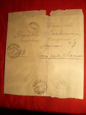 Plic spec.pt.ziare stamp.militara Eforia Spitalelor Civile circum.Brigada Galati 1901 foto