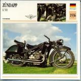 273 Foto Motociclism - ZUNDAPP K 500 - GERMANIA - 1936 -pe verso date tehnice in franceza -dim.138X138 mm -starea ce se vede