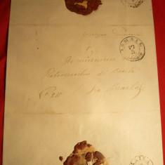 Plic spec.pt.ziare circ. de la Ismail la Braila cca.1880, urme sigiliu