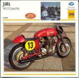 281 Foto Motociclism - JAWA 500 Z-15 GRAND PRIX - CEHOSLOVACIA - 1955 -pe verso date tehnice in franceza -dim.138X138 mm -starea ce se vede
