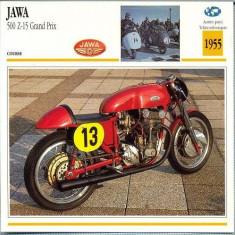 281 Foto Motociclism - JAWA 500 Z-15 GRAND PRIX - CEHOSLOVACIA - 1955 -pe verso date tehnice in franceza -dim.138X138 mm -starea ce se vede - Fotografie
