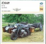 278 Foto Motociclism - ZUNDAPP KS 750 type Russie(militara) - GERMANIA - 1941 -pe verso date tehnice in franceza -dim.138X138 mm -starea ce se vede